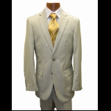 TAN STRIPE FLAT FRONT PANT 2-BUTTON SUIT Thumbnail