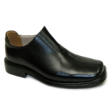 BLACK LEATHER SLIP ON SHOE Thumbnail