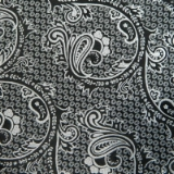 C13. BLACK/WHITE LARGE PAISLEY TIE&HANKY SET Thumbnail