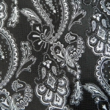 C10. BLACK/WHITE LARGE PAISLEY TIE&HANKY SET Thumbnail