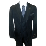 49. FALCONE BLACK SOLID VESTED SUIT Thumbnail