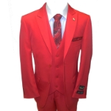 52. FALCONE RED SOLID VESTED SUIT Thumbnail
