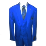 50. FALCONE ROYAL BLUE SOLID VESTED SUIT Thumbnail