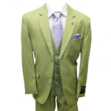 55.S.ADAMS LT.GREEN SOLID VESTED SUIT 1-PLEAT Thumbnail