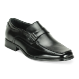 BLACK SQUARE TOE PLAIN BUCKLE SLIPON SHOE Thumbnail