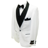 14. WHITE/BLACK SOLID SHAWL LAPEL SPORTCOAT Thumbnail