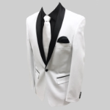 13. WHITE/BLACK SHAWL LAPEL STRETCH FABRIC Thumbnail
