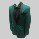15. GREEN/BLACK SHAWL LAPEL STRETCH FABRIC Thumbnail