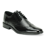 39. BLACK LEATHER LACE UP SHOE (6280) Thumbnail