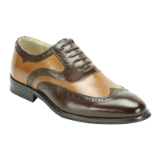34. CHOCOLATE/TAN LEATHER LACE UP SHOE (6503) Thumbnail