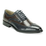 33. NAVY/BROWN LEATHER LACE UP SHOE (6503) Thumbnail