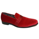 21. FIRE RED VELVET SHOE WITH SATIN RIBBON Thumbnail