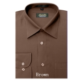 BROWN WRINKLE FREE MENS DRESS SHIRT Thumbnail