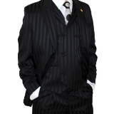 BLACK TONE ON TONE VESTED 2-BUTTON W.LAPELS Thumbnail