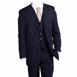NAVY/WHITE WIDE STRIPE VESTED W.PEAK LAPEL Thumbnail