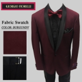 10. BURGUNDY BLACK SHAWL LAPEL MODERN FIT Thumbnail