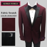 11. BURGUNDY BLACK PEAK LAPEL MODERN FIT Thumbnail