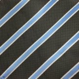 C044. GREY/BLUE STRIPE TIE & HANKY SET Thumbnail