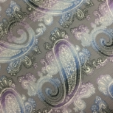 C048. LIGHT GREY/LILAC PAISLEY TIE&HANKY SET Thumbnail