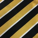 C120. BLACK/GOLD STRIPE TIE & HANKY SET Thumbnail