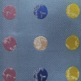 C066. BLUE/MULTICOLOR BIG DOT TIE & HANKY SET Thumbnail