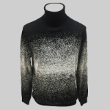 12. BLACK/WHITE PATTERNED TURTLE NECK SWEATER Thumbnail