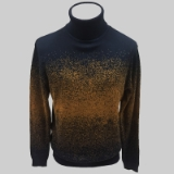 13.NAVY/MUSTARD PATTERNED TURTLE NECK SWEATER Thumbnail
