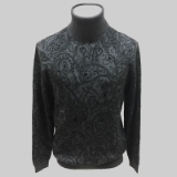 17.CHARCOAL/BLACK PAISLEY TURTLE NECK SWEATER Thumbnail