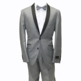 12. GREY SOLID SLIM FIT SHAWL LAPEL TUXEDO Thumbnail