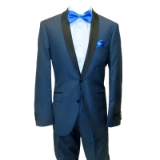 13. BLUE SOLID SLIM FIT SHAWL LAPEL TUXEDO Thumbnail