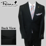 83. FALCONE BLACK SOLID SUIT WITH BACK BELT Thumbnail