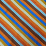 C117. ORANGE/BROWN/BLUE STRIPE TIE&HANKY SET Thumbnail