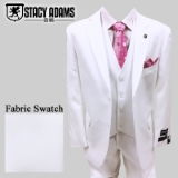 60. STACY ADAMS WHITE SOLID VESTED SUIT Thumbnail