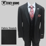 56. STACY ADAMS CHARCOAL SOLID VESTED SUIT Thumbnail