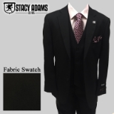 55. STACY ADAMS BLACK SOLID VESTED SUIT Thumbnail
