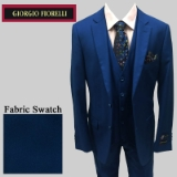 36. FRENCH BLUE SOLID VESTED SUIT Thumbnail