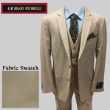 54. NEW BEIGE SOLID VESTED 2-BUTTON SUIT Thumbnail