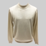 35. CREAM SOLID MOCK NECK SWEATER Thumbnail