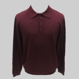 22. BURGUNDY SOLID POLO COLLAR SWEATER Thumbnail
