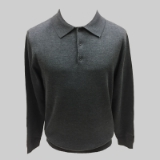 21. CHARCOAL SOLID POLO COLLAR SWEATER Thumbnail