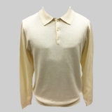 24. CREAM SOLID POLO COLLAR SWEATER Thumbnail