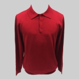 23. RED SOLID POLO COLLAR SWEATER Thumbnail