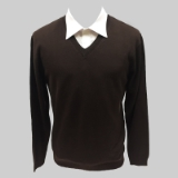 42. BROWN SOLID V-NECK SWEATER Thumbnail
