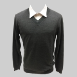38. CHARCOAL SOLID V-NECK SWEATER Thumbnail