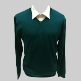 40. JADE GREEN SOLID V-NECK SWEATER Thumbnail