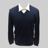 39. NAVY SOLID V-NECK SWEATER Thumbnail