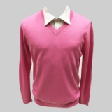 45. PINK SOLID V-NECK SWEATER Thumbnail