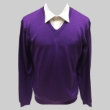 41. PURPLE SOLID V-NECK SWEATER Thumbnail