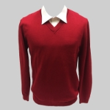 44. RED SOLID V-NECK SWEATER Thumbnail