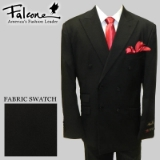 85. FALCONE BLACK SOLID DOUBLE BREASTED SUIT Thumbnail